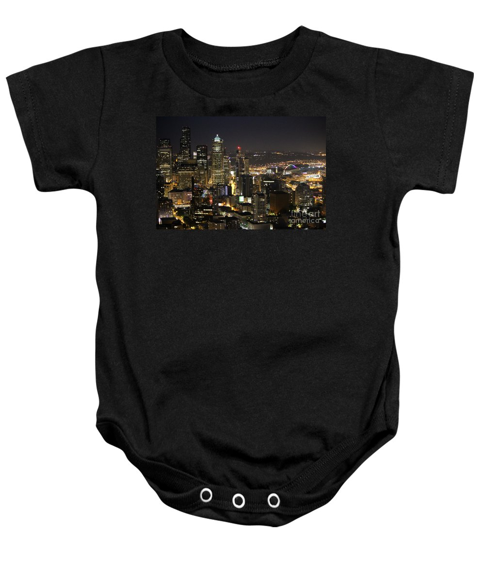 City Life Baby Onesie featuring the photograph Seattle Skyline At Night by Stacey May