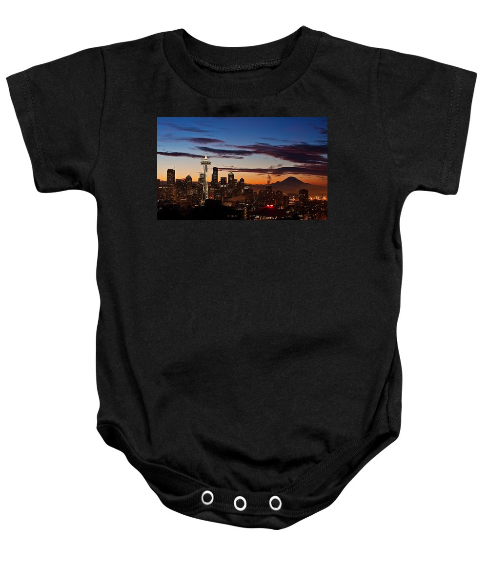 Seattle Baby Onesie featuring the photograph Seattle Sunrise by Mike Reid
