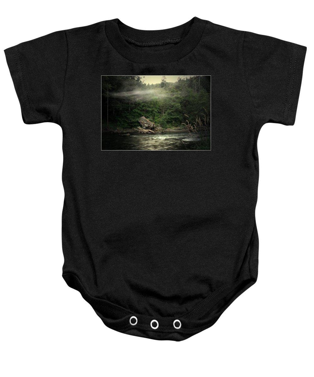 River Baby Onesie featuring the photograph Seclusion On The Trinity by Joyce Dickens