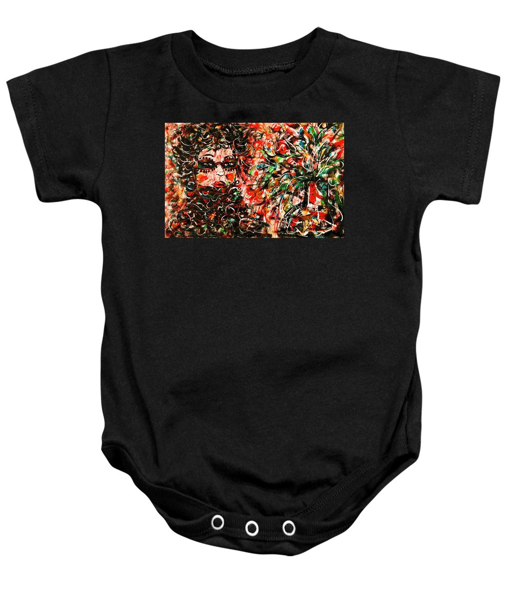 Free Expressionism Baby Onesie featuring the painting Secret Agent by Natalie Holland