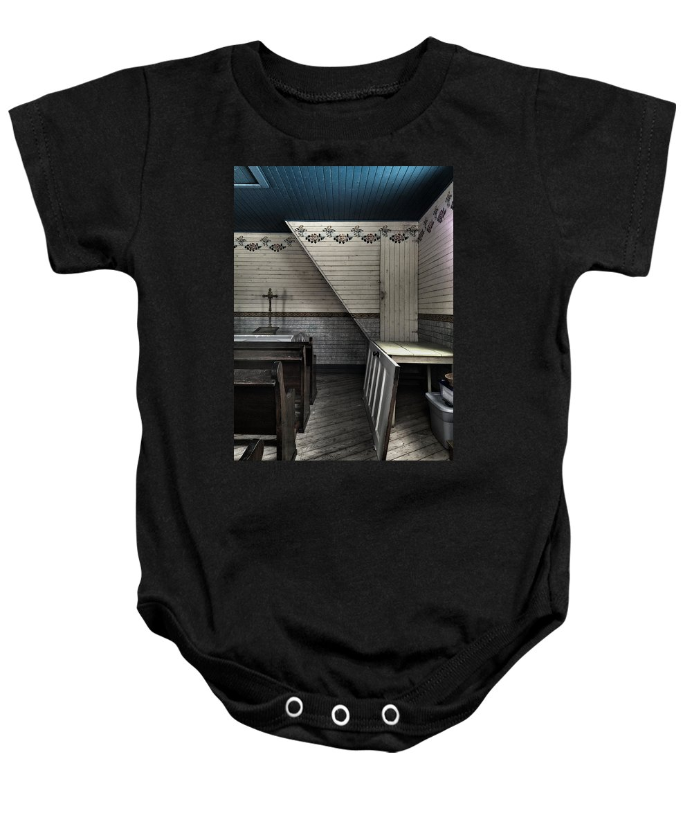Church Baby Onesie featuring the photograph Secret Prayers by The Artist Project