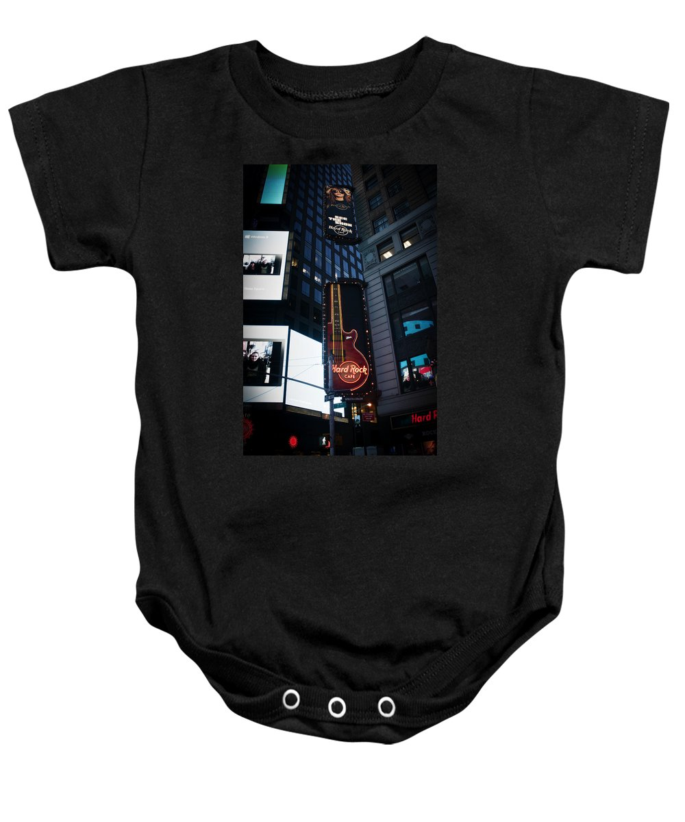 Times Square Baby Onesie featuring the photograph See The Show by Teresa Mucha