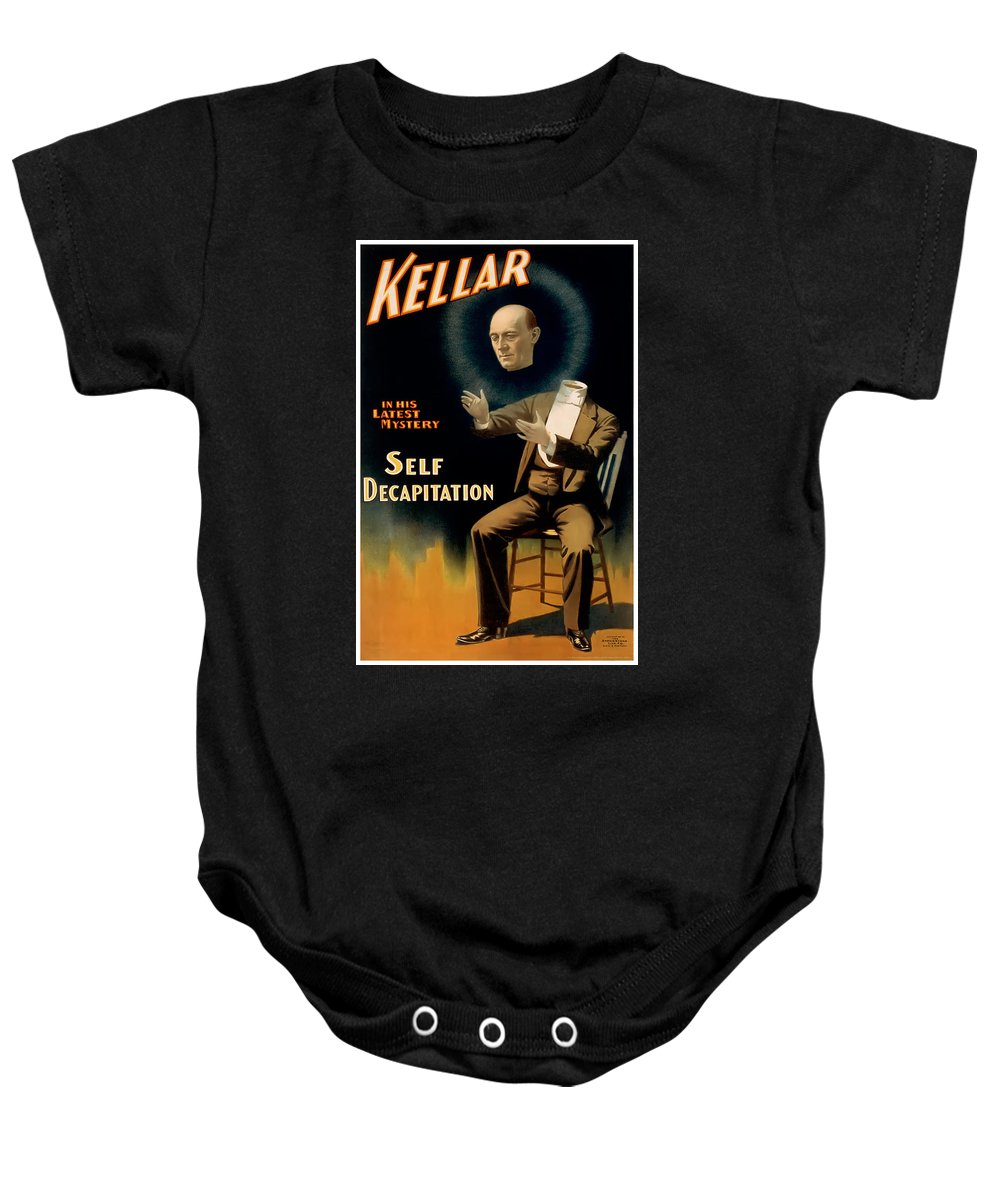 Vintage Poster Baby Onesie featuring the painting Self Decapitation by Terry Reynoldson