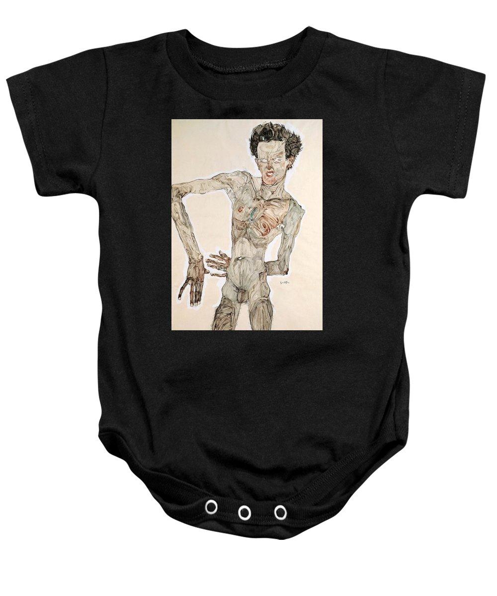 Painting; 20th Century; Europe; Austria; Schiele Egon; Avant-garde Baby Onesie featuring the painting Self-portrait by Egon Schiele