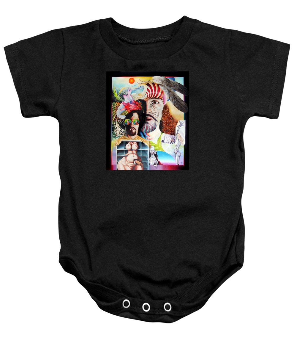 Surrealism Baby Onesie featuring the painting Selfportrait With The Critical Eye by Otto Rapp