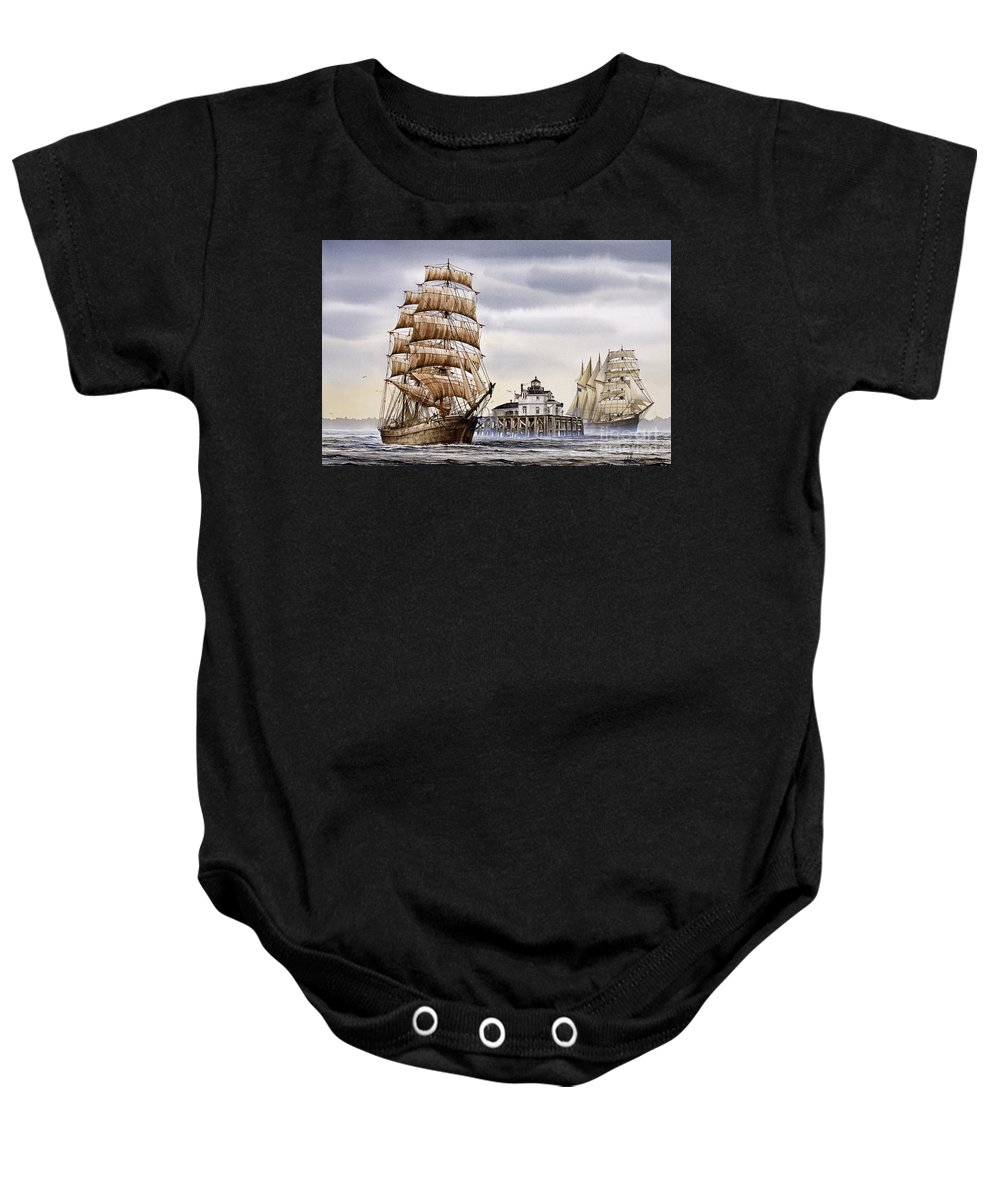 Tall Ship Print Baby Onesie featuring the painting Semi-ah-moo Lighthouse by James Williamson