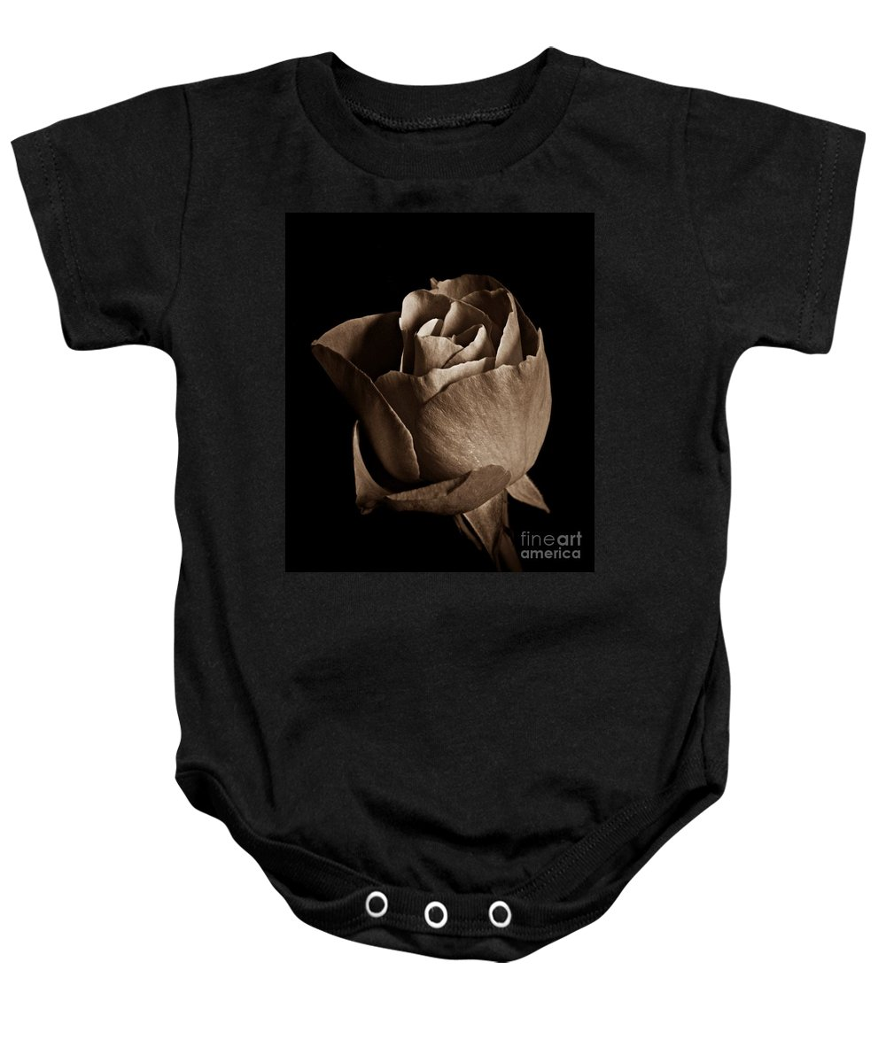 Sepia Rose Portrait Baby Onesie featuring the photograph Sepia Rose Portrait 2 by Chalet Roome-Rigdon
