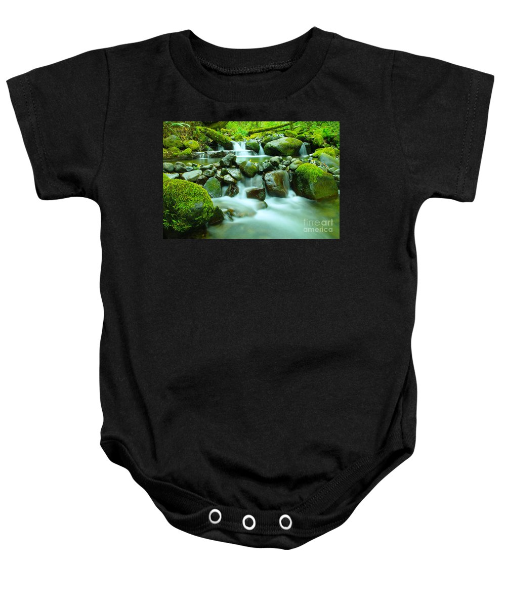 Water Baby Onesie featuring the photograph September Stream by Jeff Swan