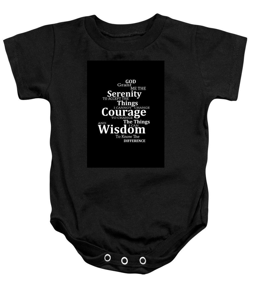 Serenity Prayer 5 - Simple Black And White Onesie for Sale by Sharon  Cummings 30abe8476d5c3