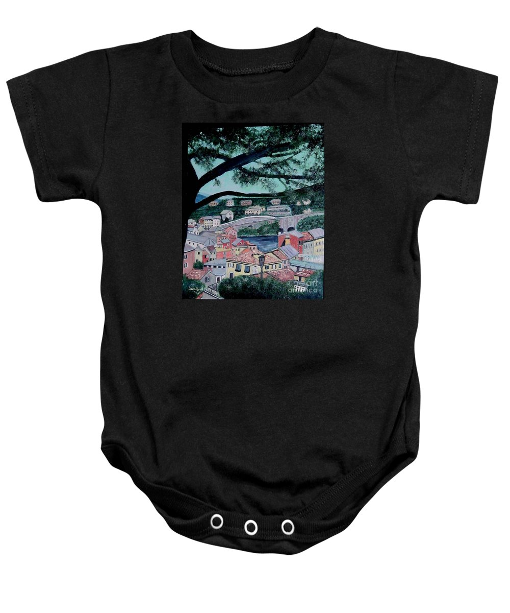 Italy Baby Onesie featuring the painting Sestri Levante by Laurie Morgan
