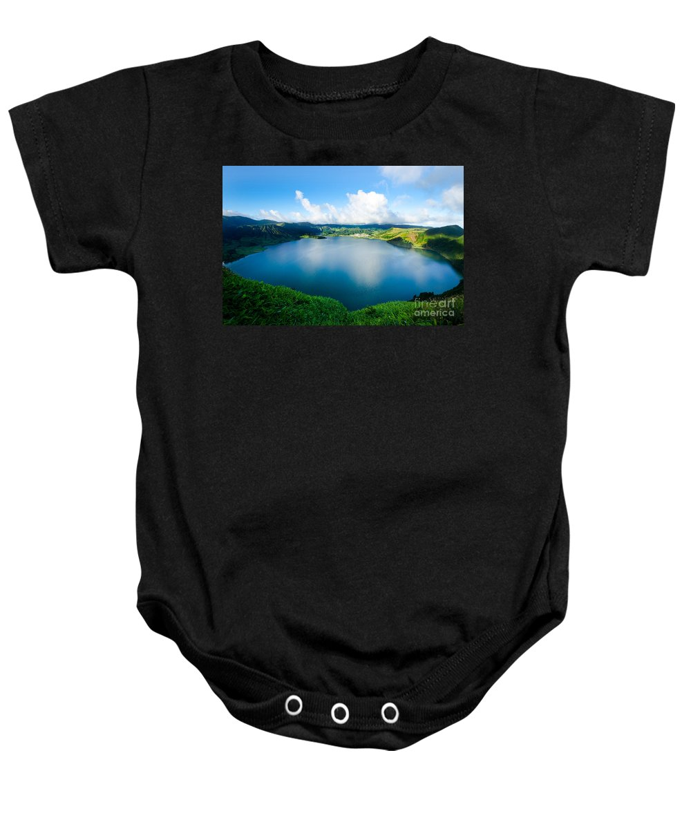 Morning In Sete Cidades Baby Onesie featuring the photograph Sete Cidades IIi by Marco Andrade