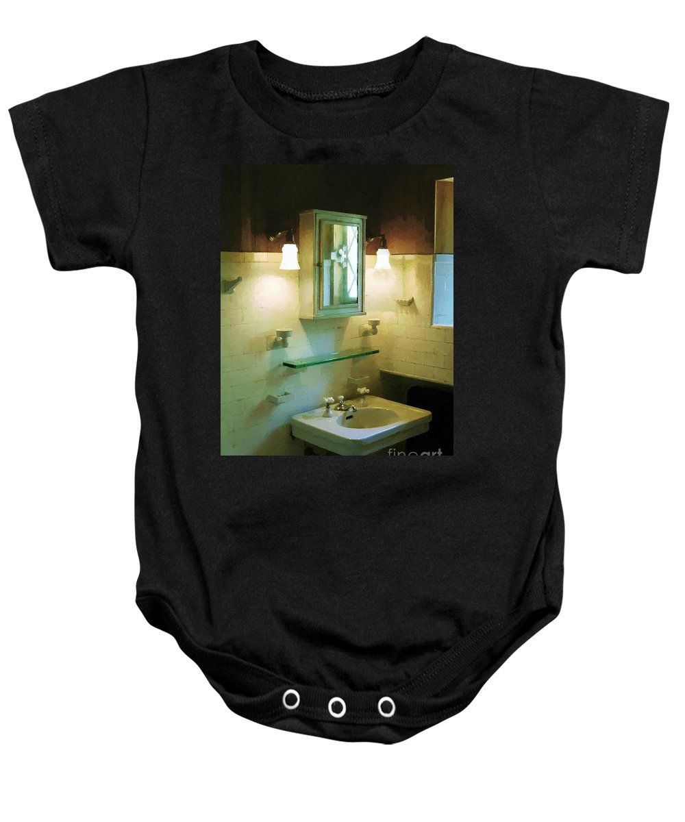 Americana Baby Onesie featuring the painting Seventh Sister's Master Bath by RC DeWinter