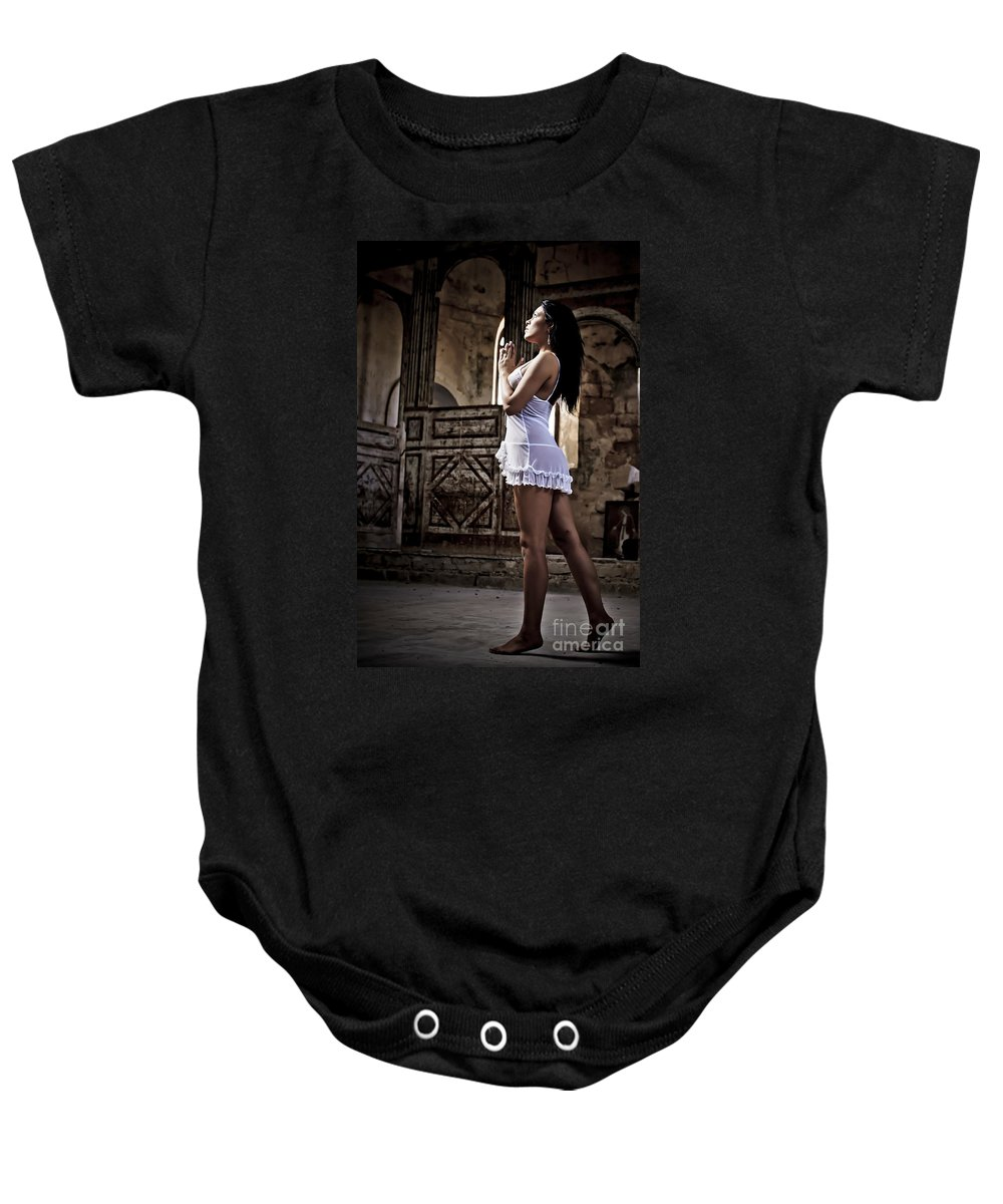 Defiance Baby Onesie featuring the photograph Sexy Woman In Church by Guy Viner