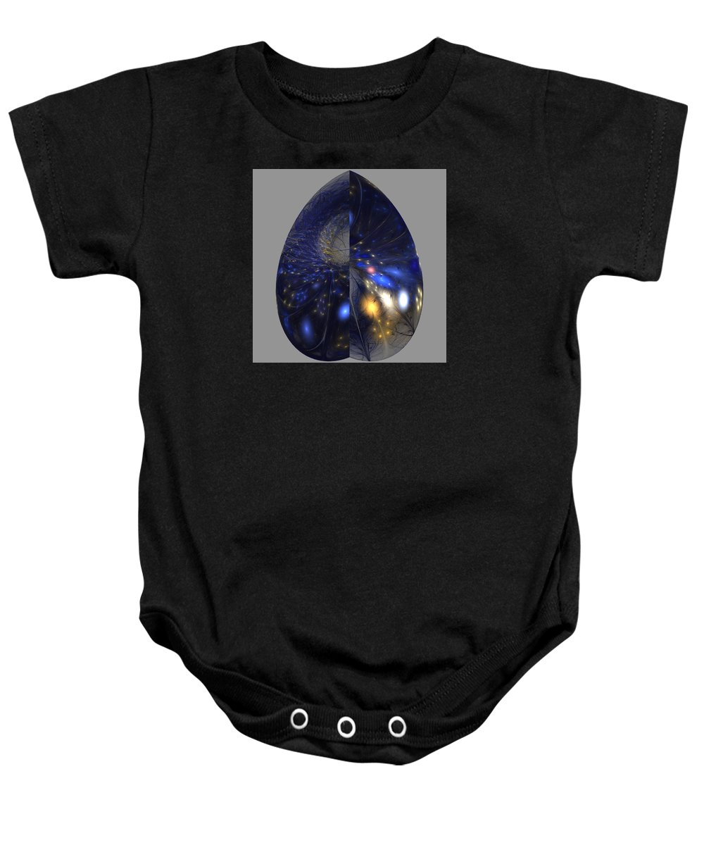 Fractal Baby Onesie featuring the digital art Shades Of Midnight by Anne Pearson