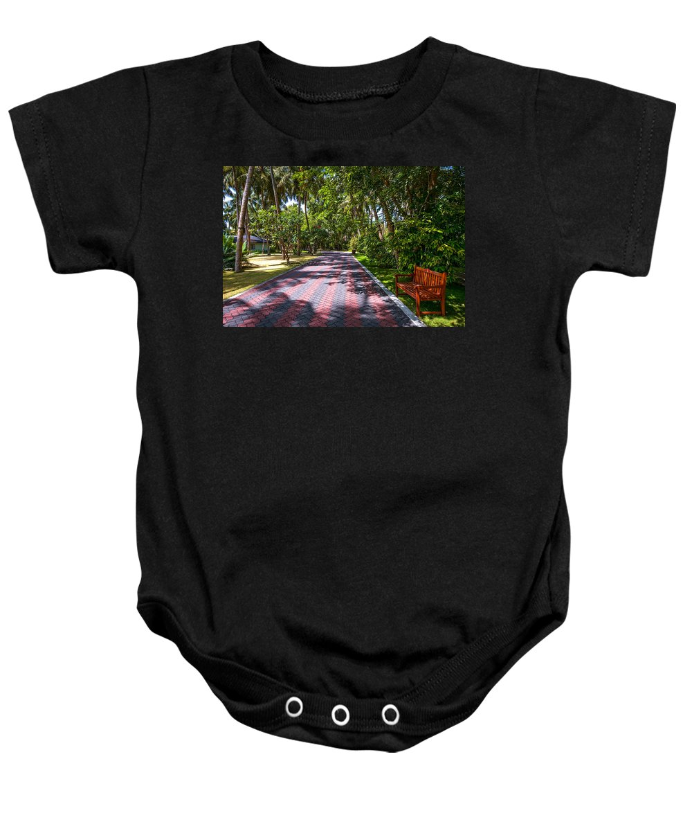 Maldives Baby Onesie featuring the photograph Shadow Alley In Sun Island Resort. Maldives by Jenny Rainbow