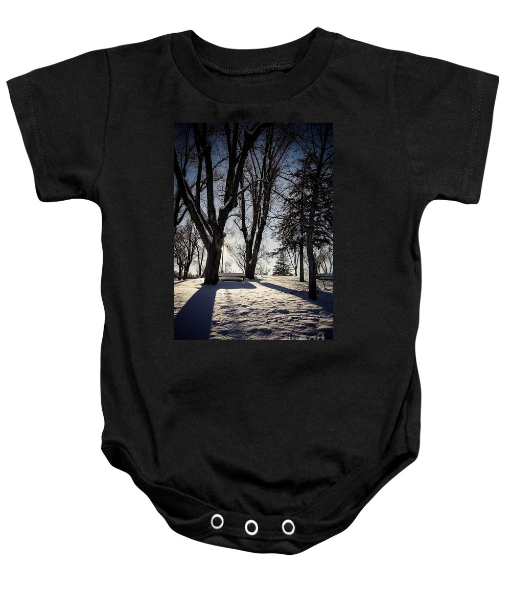 Snow Baby Onesie featuring the photograph Shadows And Light by Gloria Pasko