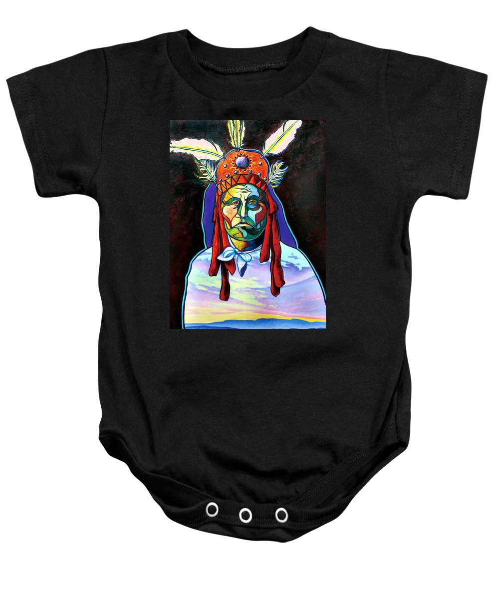 American Indian Baby Onesie featuring the painting Shamans Power by Joe Triano