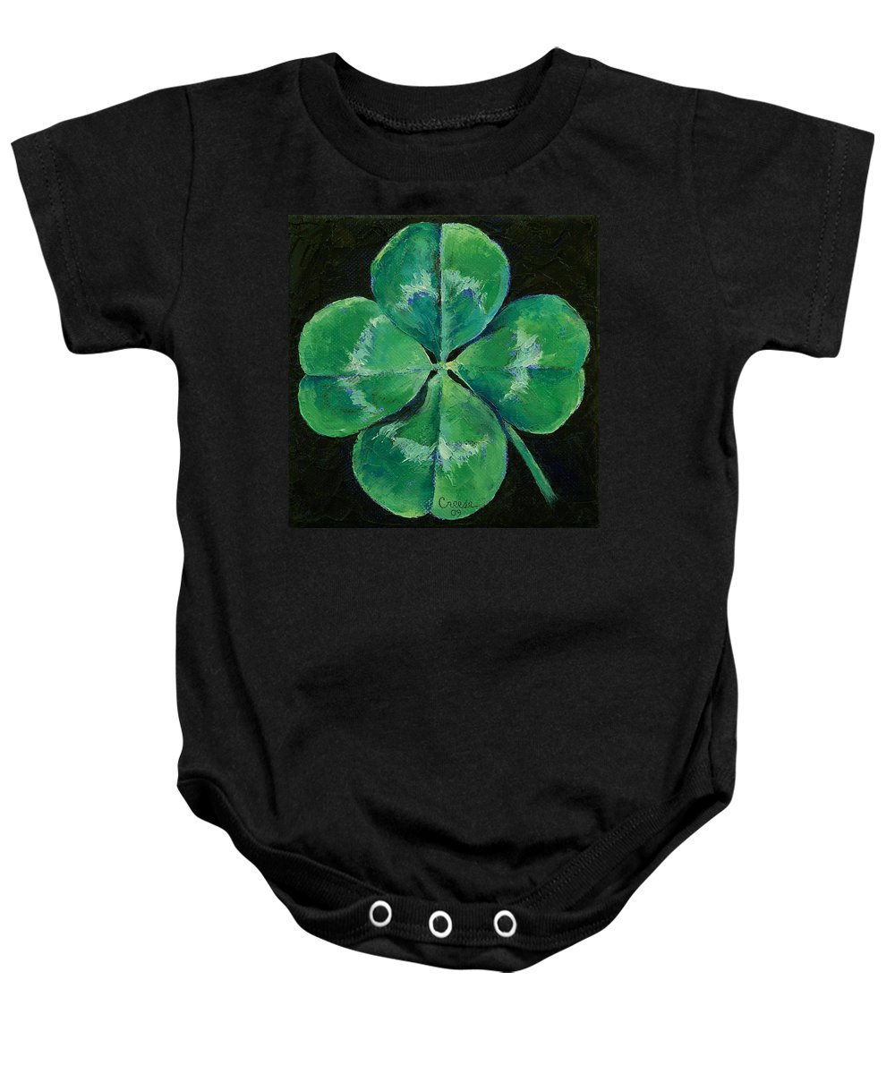 Shamrock Baby Onesie featuring the painting Shamrock by Michael Creese