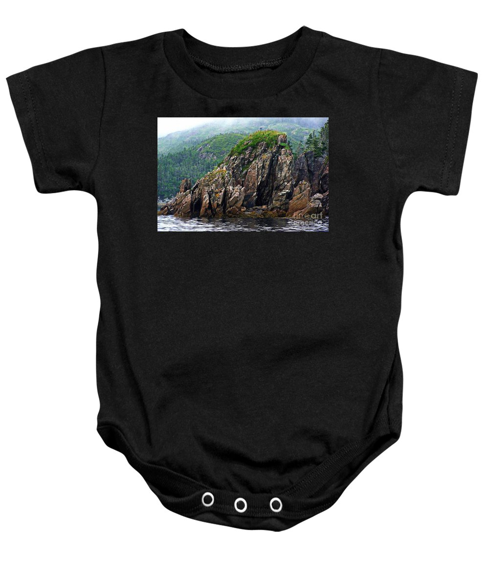Sharp Rocks Baby Onesie featuring the photograph Sharp Jagged Rocks by Barbara Griffin