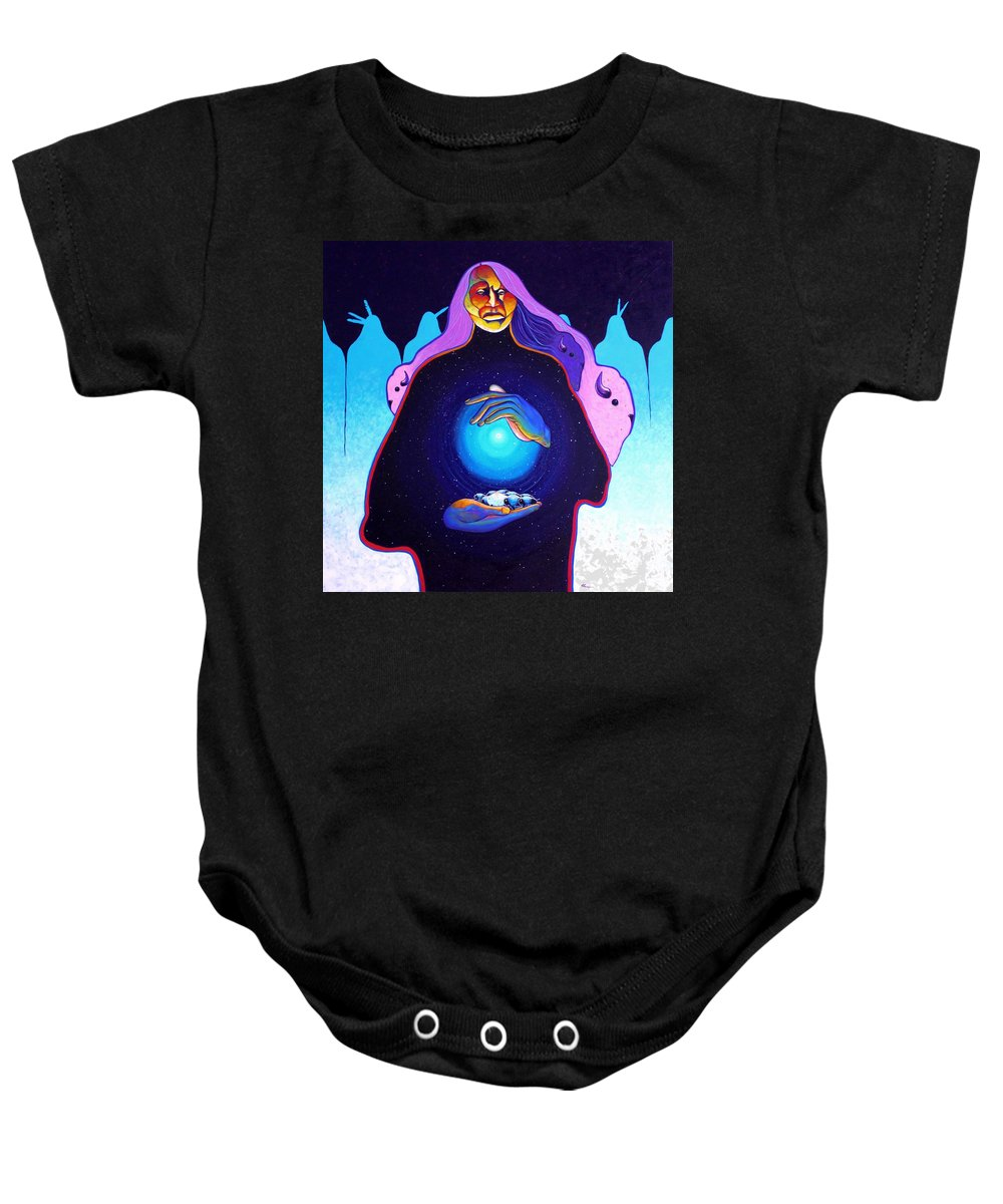 Spiritual Baby Onesie featuring the painting She Carries The Spirit by Joe Triano