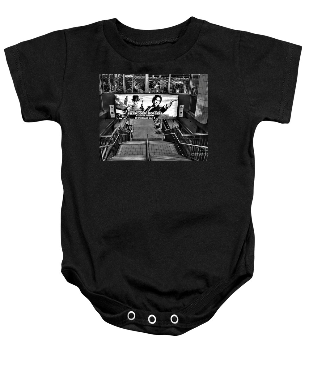 Photography Baby Onesie featuring the photograph Sherlock Holmes At The Station by Kaye Menner