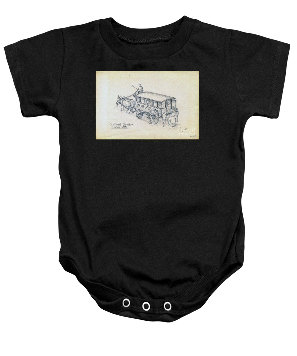 Bus Baby Onesie featuring the drawing Shillibeers Omnibus by John Chatterley