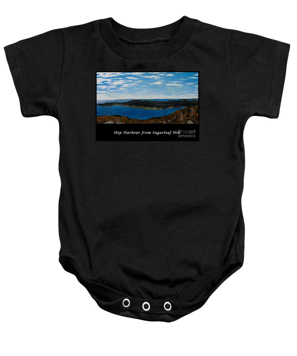 Ship Harbour Baby Onesie featuring the painting Ship Harbour From Sugarloaf Hill - Historic Town - Atlantic Charter by Barbara Griffin