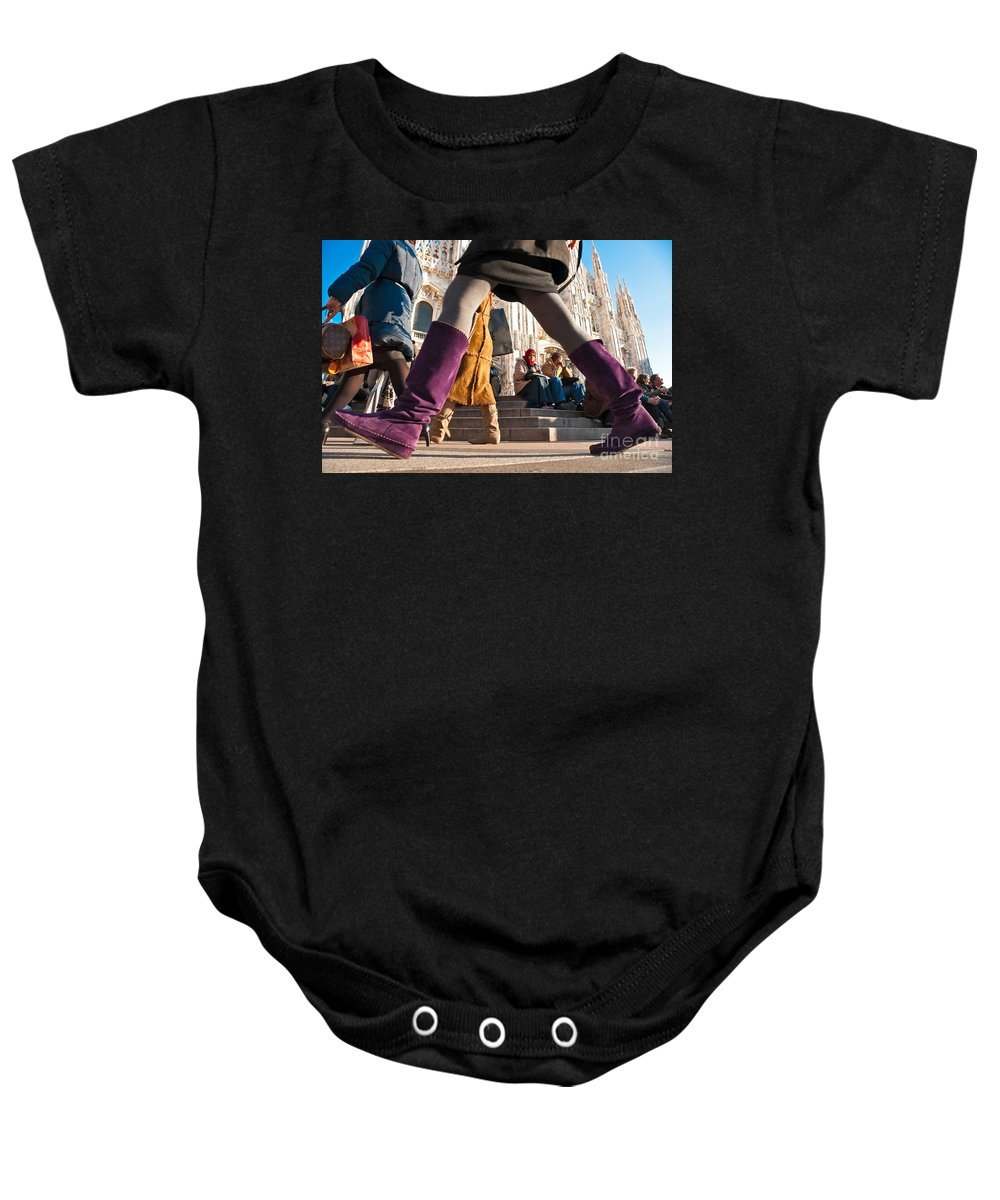 Ancient Baby Onesie featuring the photograph Shopping In Milan by Luciano Mortula
