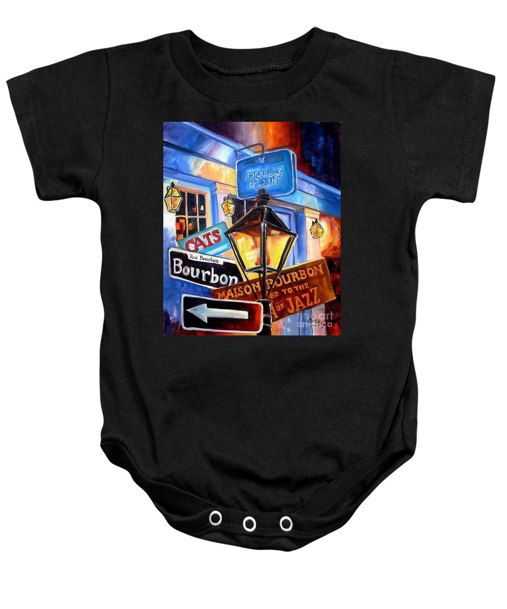 New Orleans Baby Onesie featuring the painting Signs Of Bourbon Street by Diane Millsap