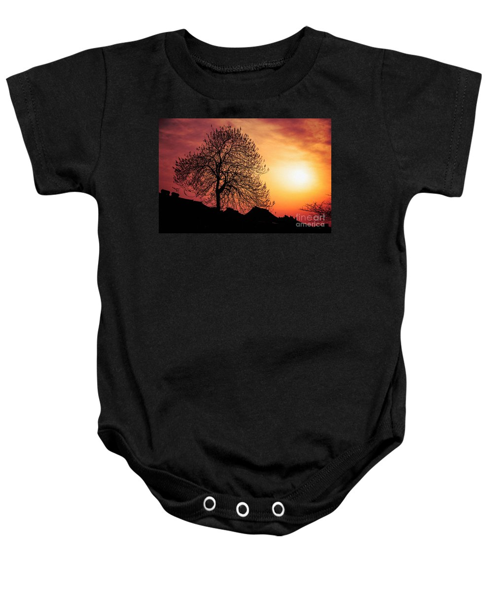 China Baby Onesie featuring the photograph Silhouette Of Tree by Yew Kwang