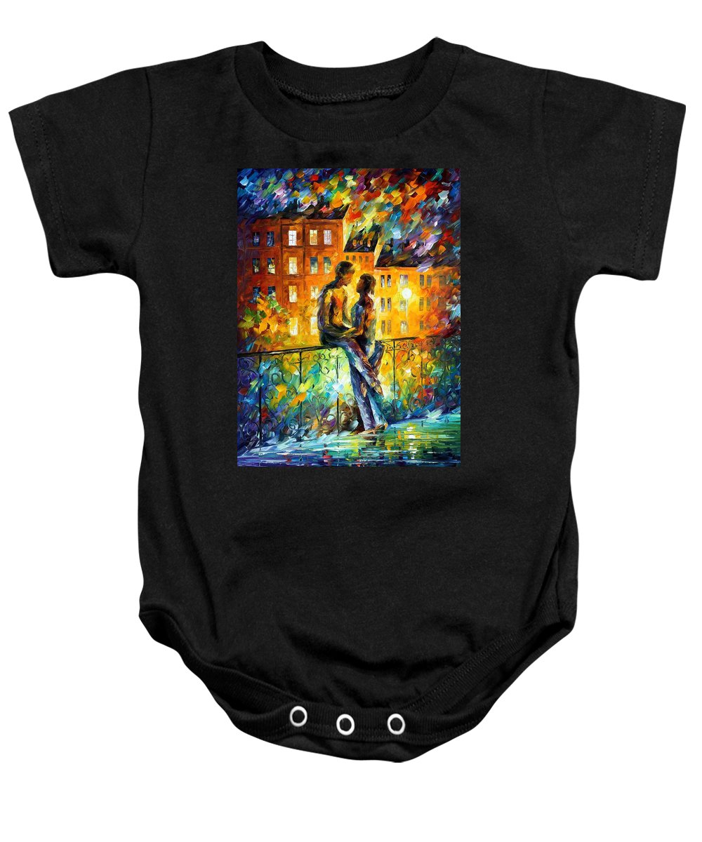 Oil Paintings Baby Onesie featuring the painting Silhouettes - Palette Knife Oil Painting On Canvas By Leonid Afremov by Leonid Afremov