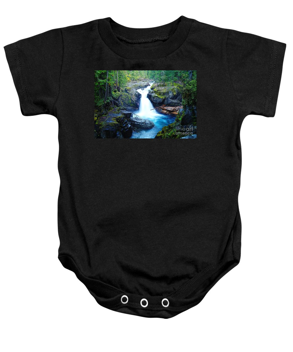 Waterfalls Baby Onesie featuring the photograph Silver Falls by Jeff Swan