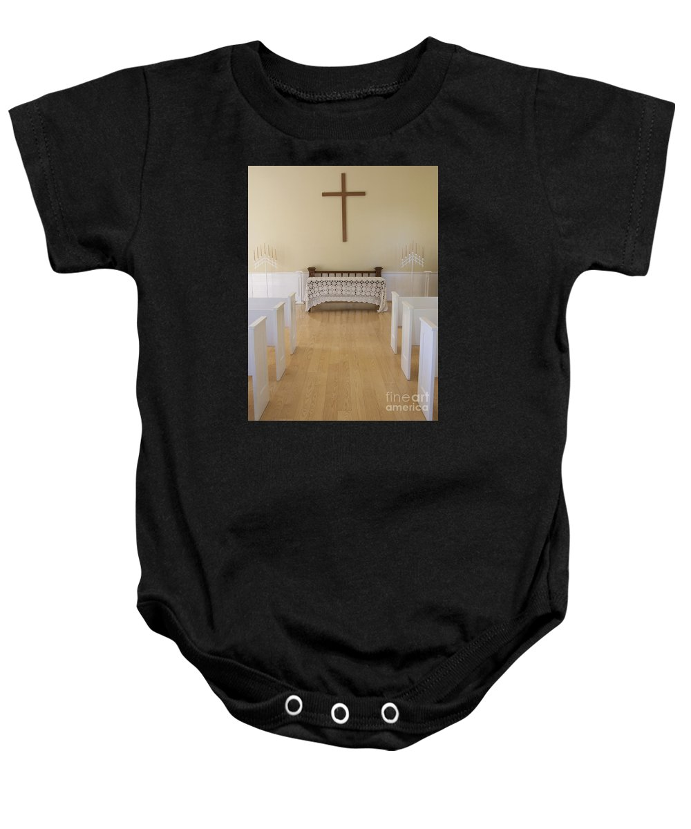 Chapel Baby Onesie featuring the photograph Simple Sunlit Chapel by Ann Horn