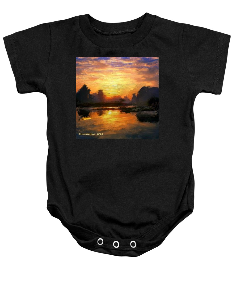Sunset Baby Onesie featuring the painting Simply Sunset by Bruce Nutting