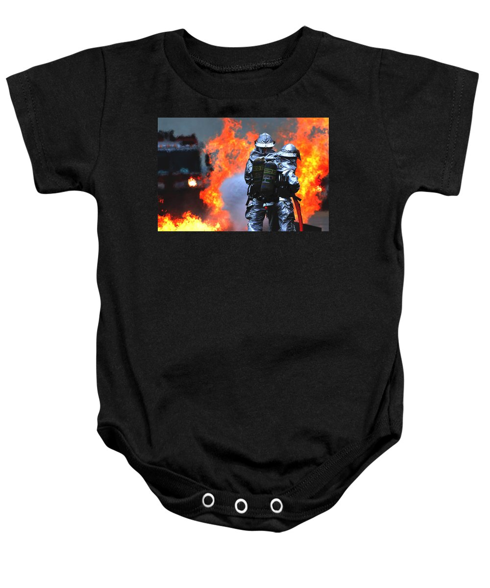 Military Baby Onesie featuring the photograph Simulated C-130 Hercules Crash, Osan by Science Source