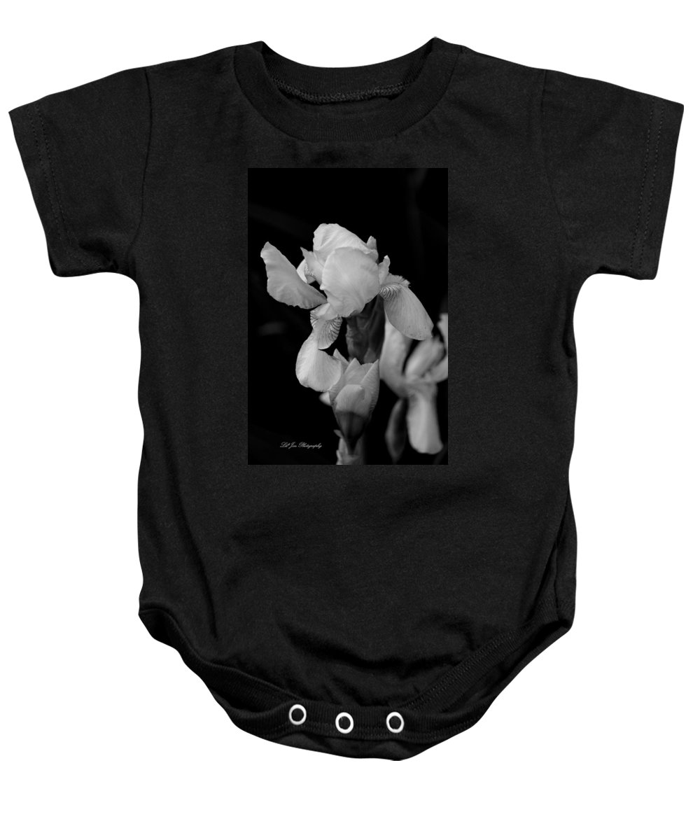 Iris Baby Onesie featuring the photograph Singing Praise In Black And White by Jeanette C Landstrom