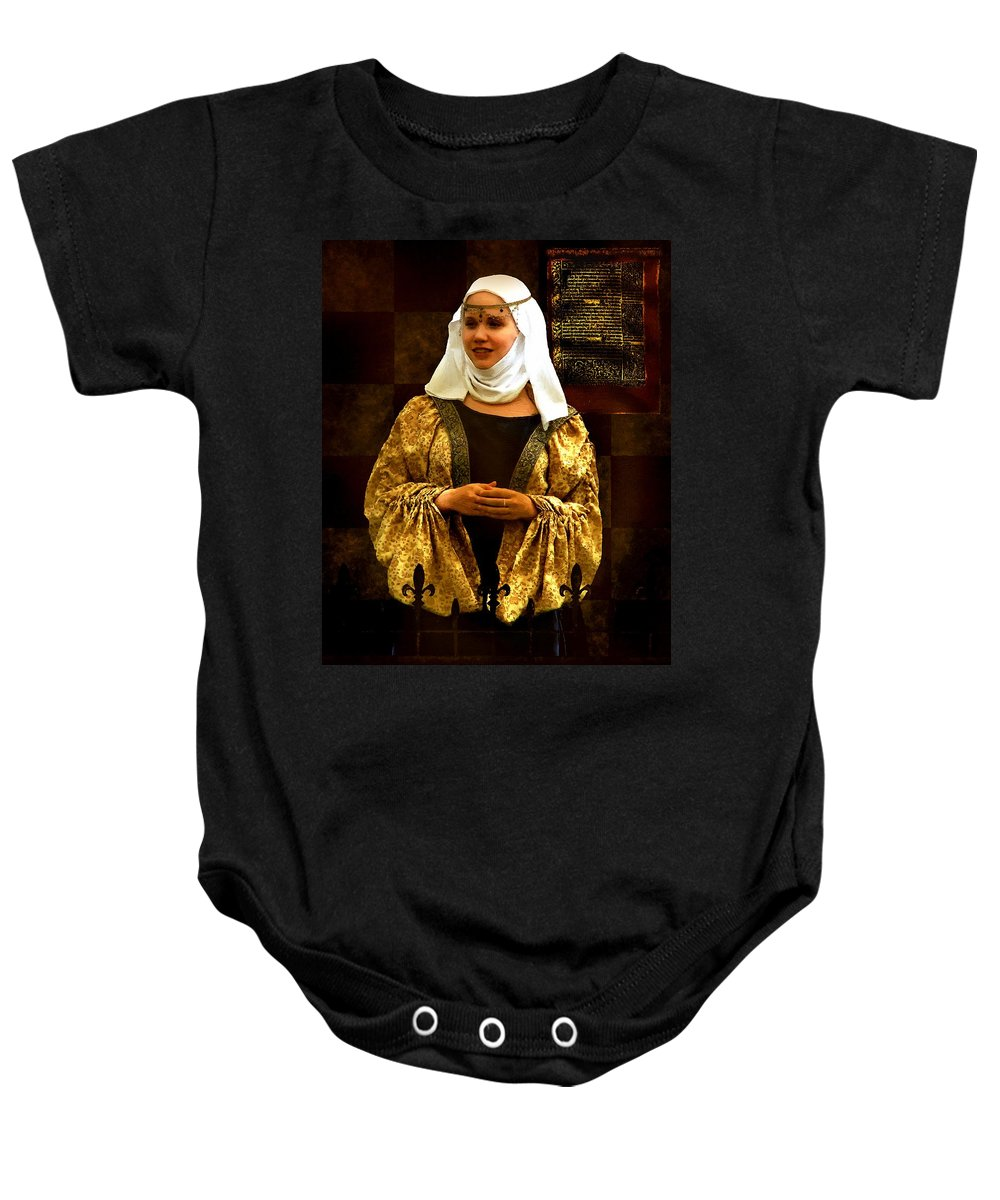 Costume Baby Onesie featuring the painting Maid Marian - Sire I Kan Not Quod She by RC DeWinter