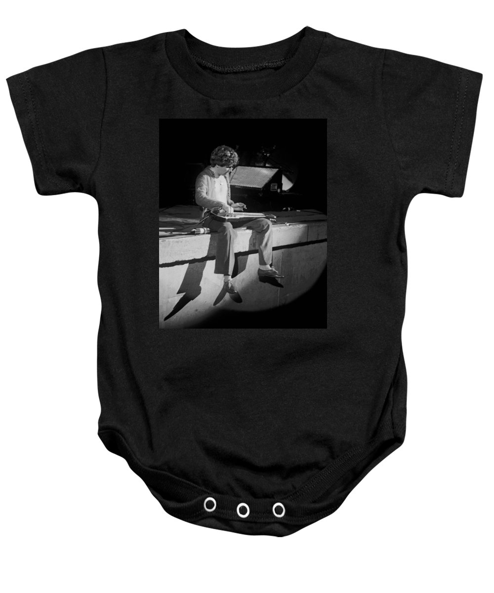 Sammy Hagar Baby Onesie featuring the photograph Sitting On The Front Of The Stage 1977 by Ben Upham