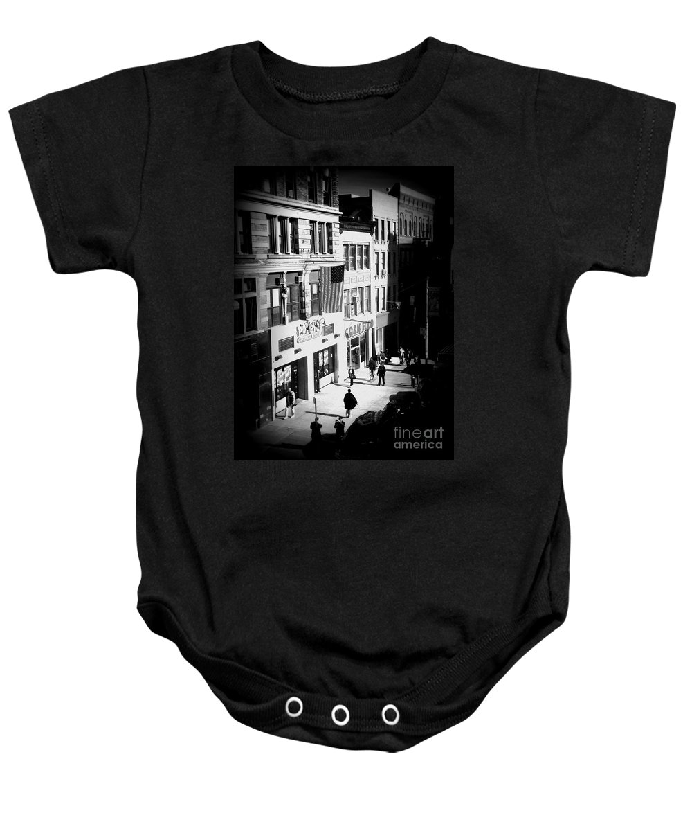 Street Scene Baby Onesie featuring the photograph Six O'clock On The Street - Black And White by Miriam Danar