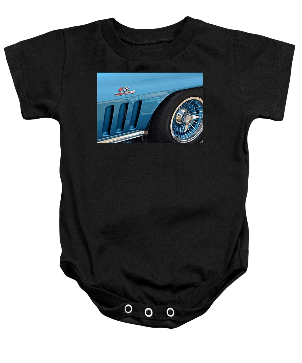 Corvette Baby Onesie featuring the photograph Sixty Six Corvette Roadster by Frozen in Time Fine Art Photography