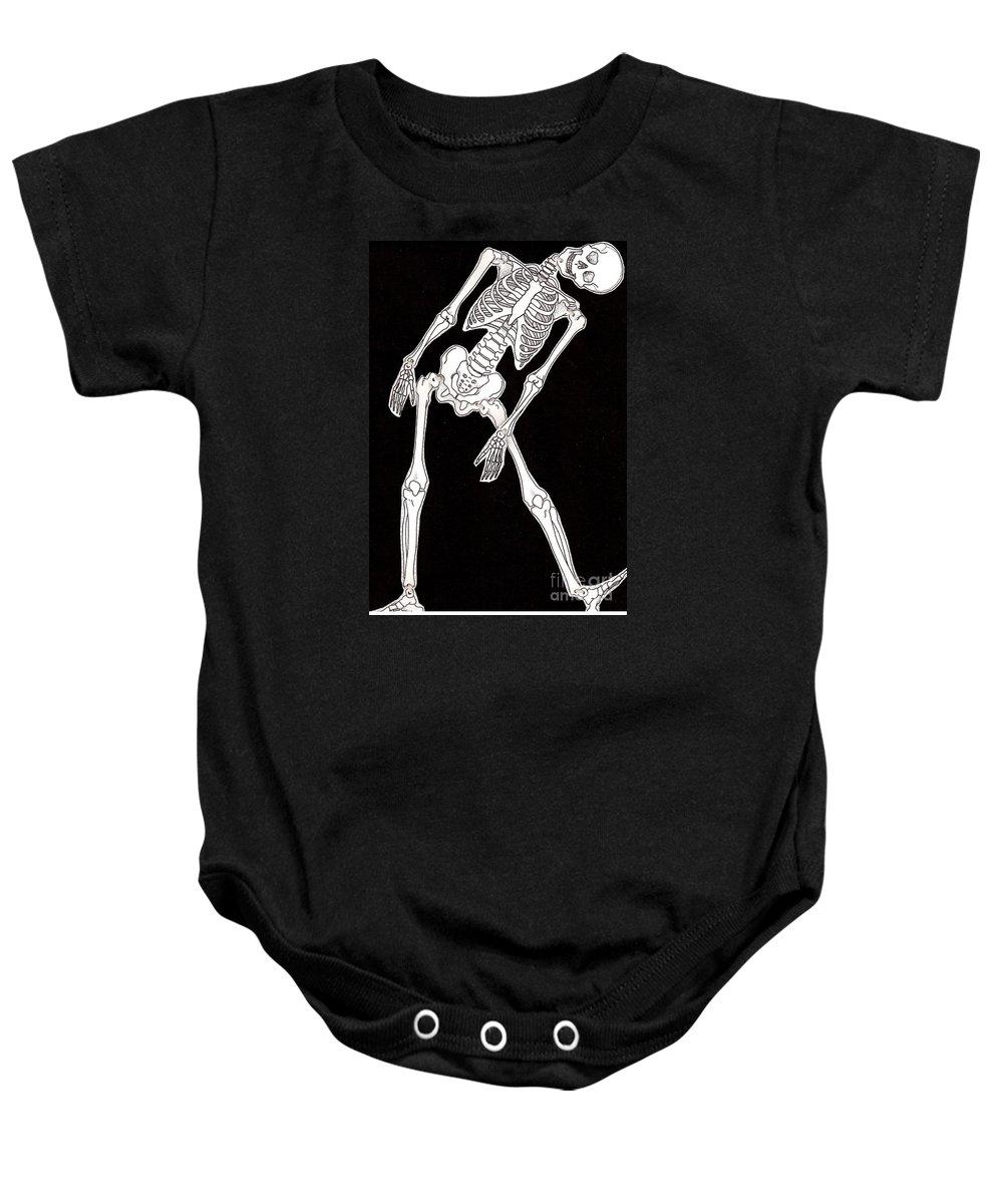 Skeleton Baby Onesie featuring the drawing Skeleton by Oleg Konin