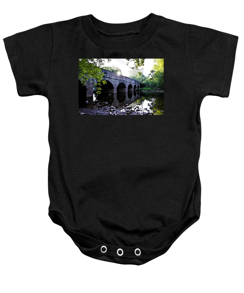 Skippack Baby Onesie featuring the photograph Skippack Creek Bridge - Germantown Pike by Bill Cannon