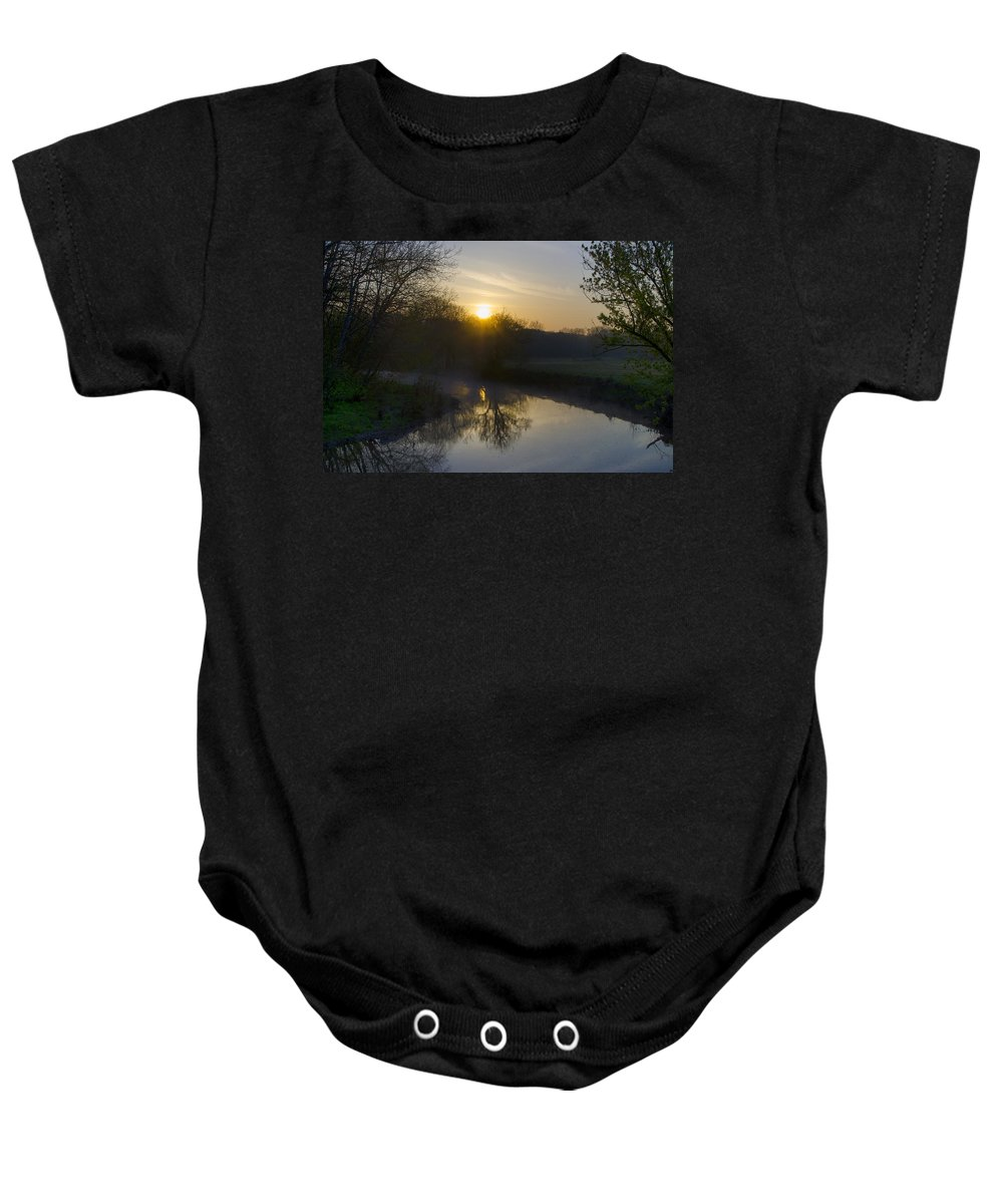 Skippack Baby Onesie featuring the photograph Skippack Creek Sunrise by Bill Cannon