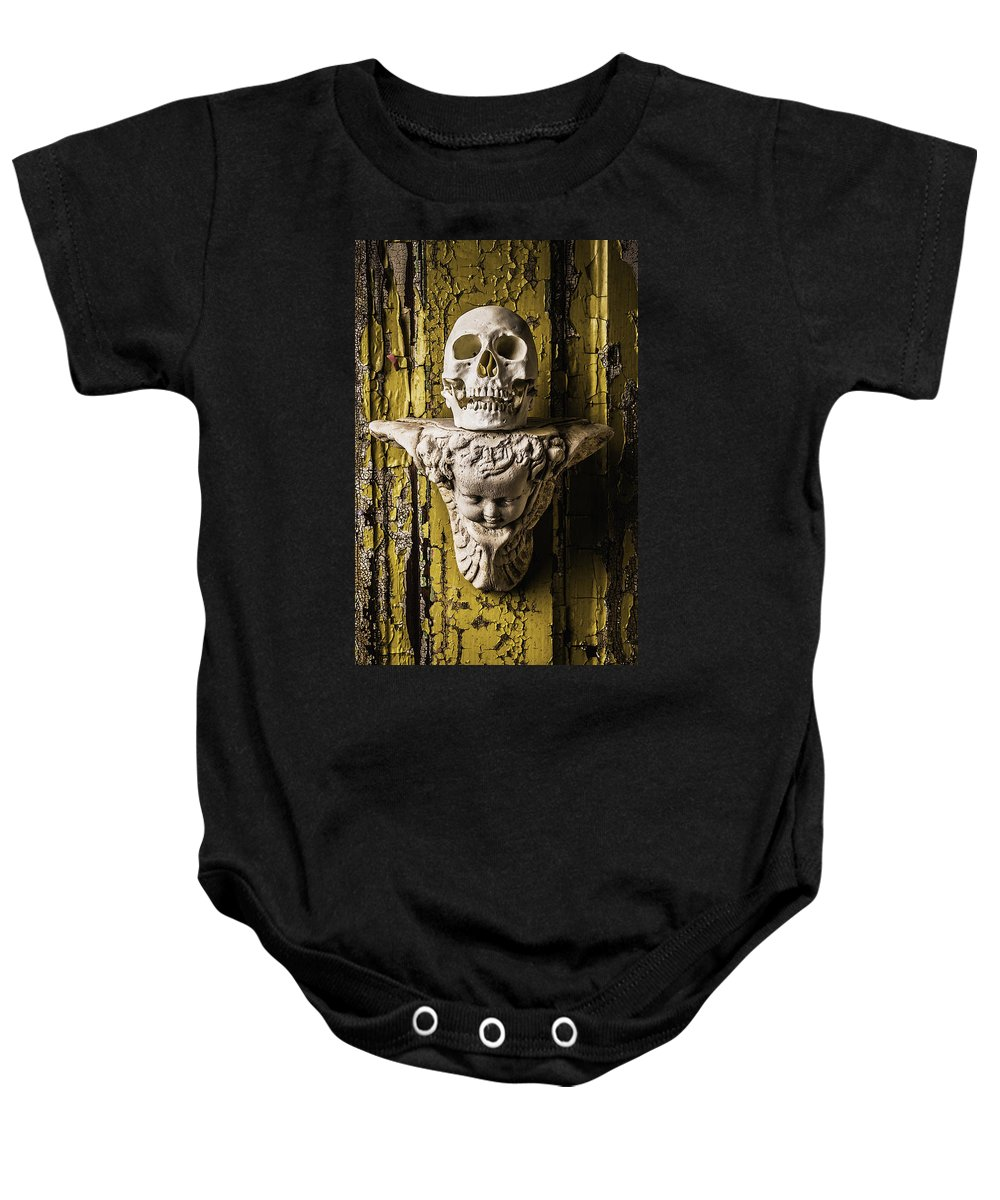 Skull Baby Onesie featuring the photograph Skull And Angel by Garry Gay
