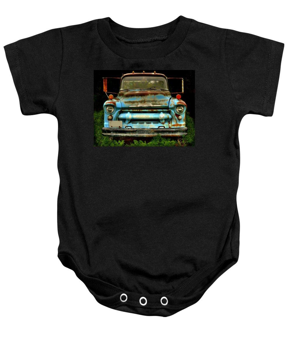 Old Chevrolet Truck Baby Onesie featuring the photograph Sky Blue And Still Cool by Thomas Young