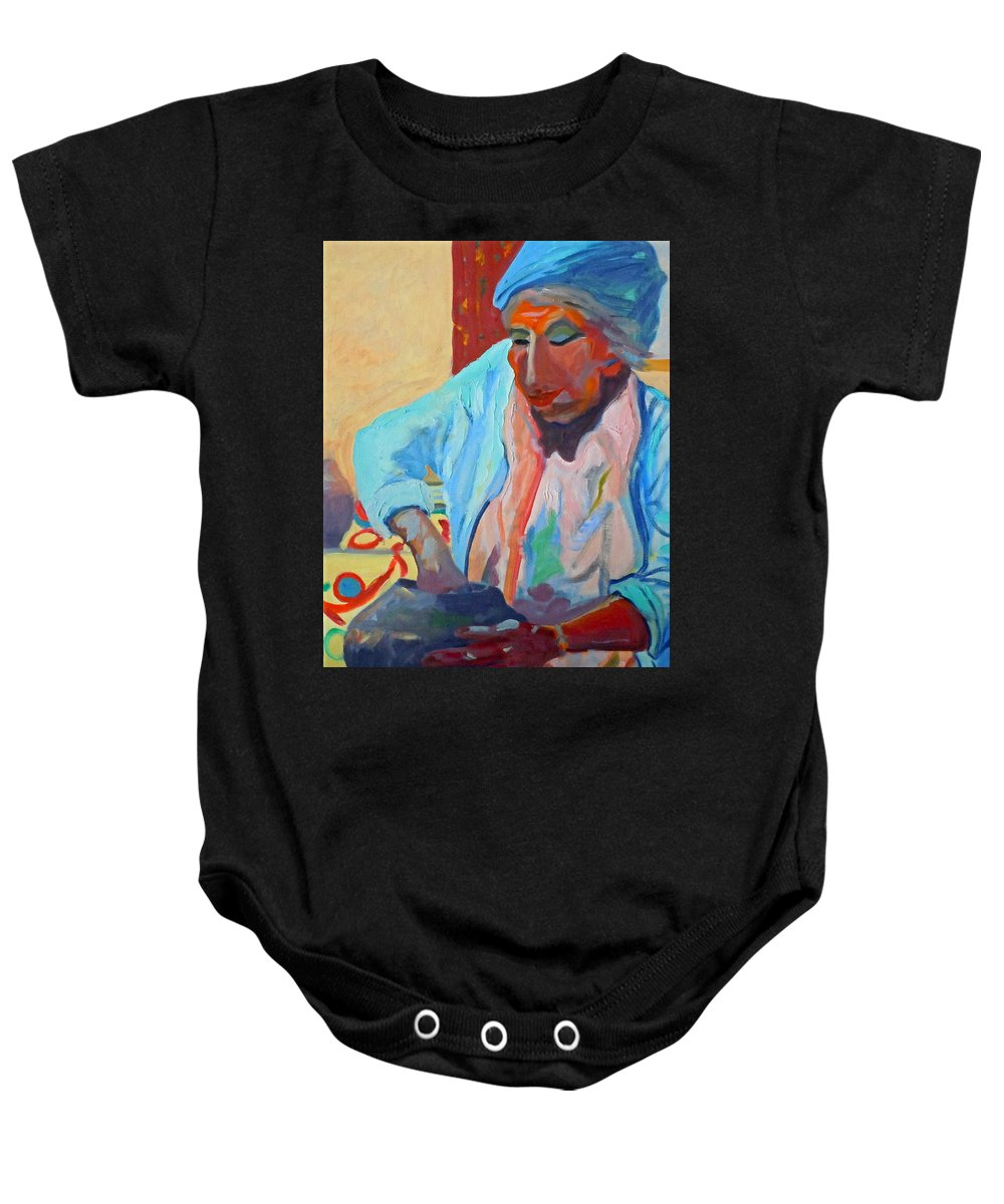 Human Figure Baby Onesie featuring the painting Sky City - Marie by Francine Frank