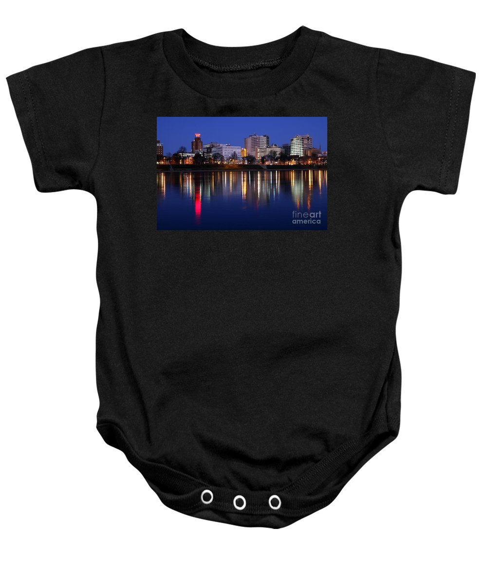 Harrisburg Baby Onesie featuring the photograph Skyline Of Harrisburg Pennsylvania At Dusk by Bill Cobb