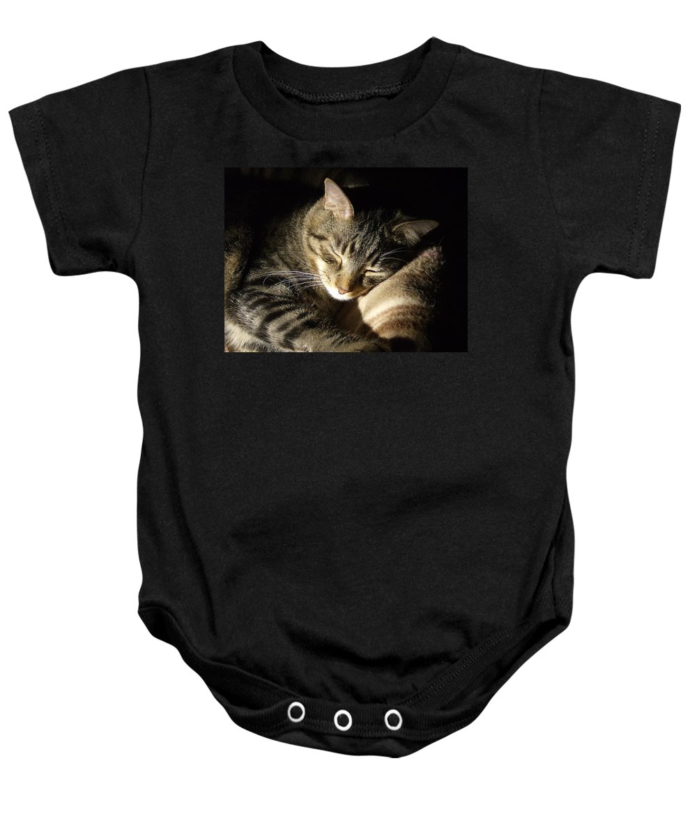 Cat Baby Onesie featuring the photograph Sleeping Beauty by Leslie Manley
