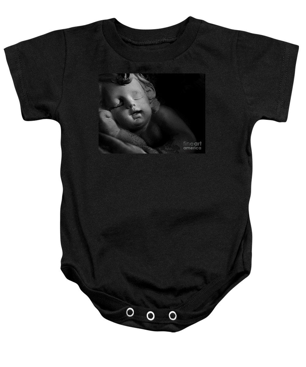 Sleeping Cherub Garden Stauary Baby Onesie featuring the photograph Sleeping Cherub #1bw by Robert ONeil