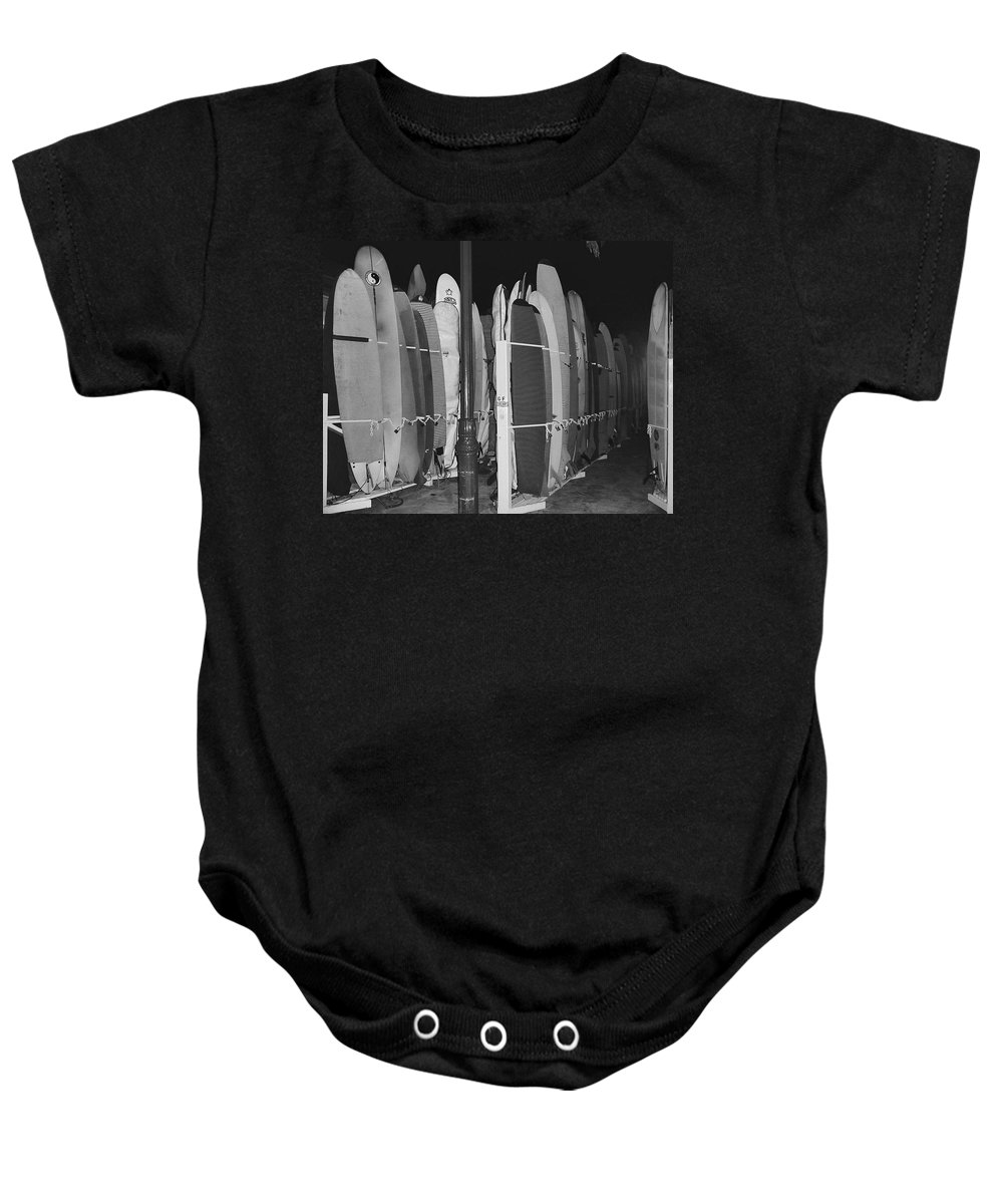 surf Boards Baby Onesie featuring the photograph Sleeping Surfboards by Daniel Hagerman